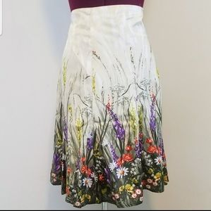 Chico's Watercolor Floral Print Silk Skirt